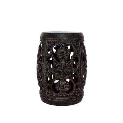 19 in. H Cast Stone Garden Patio Stool in Special Aged Charcoal