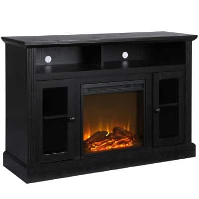 Nashville 47 in. Black Particle Board TV Stand Fits TVs Up to 50 in. with Electric Fireplace