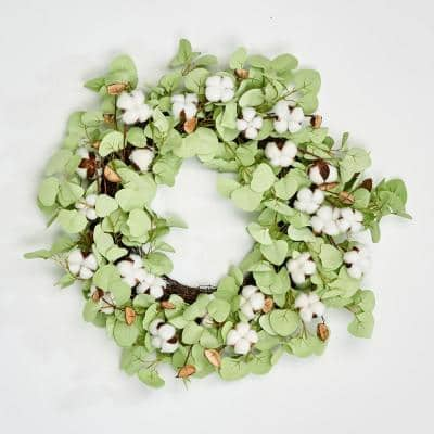 24 in. Cotton with Lvs Wreath