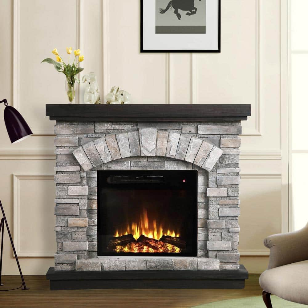 Festivo 36 In Freestanding Electric Fireplace In Gray Ffp20141 The Home Depot