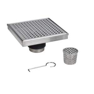 Designline 4 in. x 4 in. Stainless Steel Square Shower Drain with Square Pattern Drain Cover