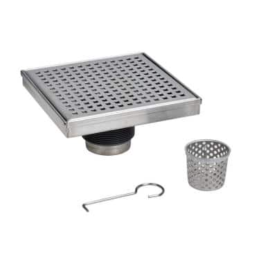 Designline 6 in. x 6 in. Stainless Steel Square Shower Drain with Square Pattern Drain Cover