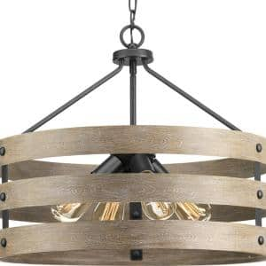 Gulliver Collection 21-1/2 in. 4-Light Graphite Farmhouse Drum Pendant with Weathered Gray Wood Accents