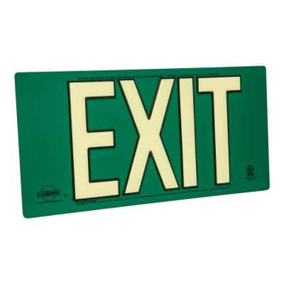 Green Metal Aluminum 100' Visibility 5 fc Rated Energy-Free Photoluminescent UL924 Emergency Exit Sign Compliant