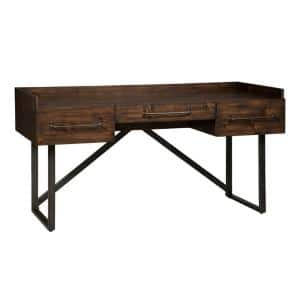 63 in. W Brown and Black Wooden Three Drawers Desk with Tubular Metal Base and Bar Handles