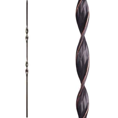 Ribbon Twist 44 in. x 0.5 in. Oil Rubbed Copper Double Ribbon Solid Wrought Iron Baluster