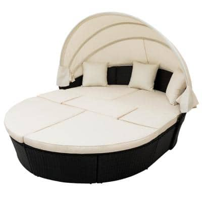 Black PE Wicker Rattan Patio Furniture Round Outdoor Daybed with Retractable Canopy and Beige Cushions