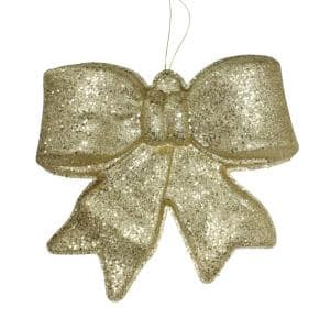15.5 in. Gold Glittered Battery Operated Lighted LED Christmas Bow Decoration