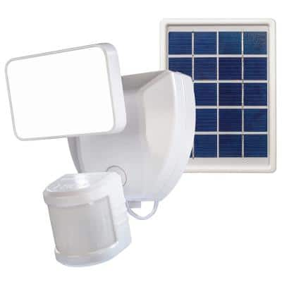 Voice Activated Wi-Fi Connected White Motion Activated Solar Operated Integrated LED Outdoor Security Flood Light