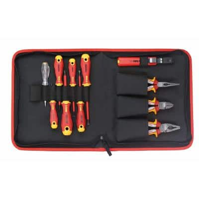 Ergonic 11-Piece VDE Insulated Professional Tools Set - Pliers, Screwdrivers, Cable Stripper and Voltage Tester