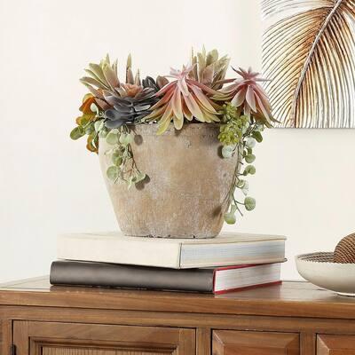 Artificial Succulent Plant 13.0 in. Gray Cement Pot