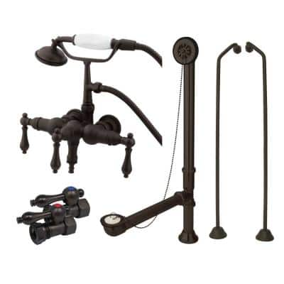 Vintage Wall Mount 3-Handle Claw Foot Tub Faucet with Supply Line and Drain in Oil Rubbed Bronze
