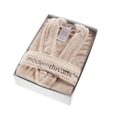 Modern Threads 100 % USA Cotton Classic Bathrobe with Shawl Collar Blush Small/Medium