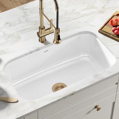 Pintura Undermount Enamel Steel 31 in. Single Bowl Kitchen Sink in White