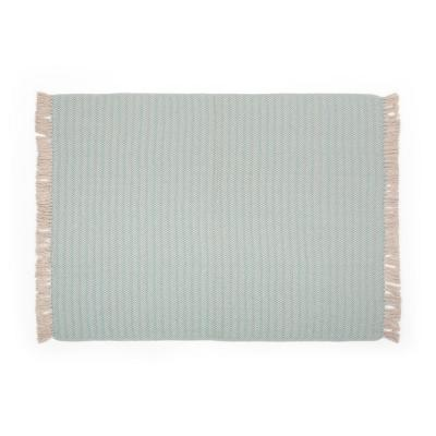 Fordyce Teal and Natural Fabric Throw Blanket