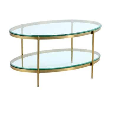 47 in. Gold Large Oval Glass Coffee Table with Storage Shelf