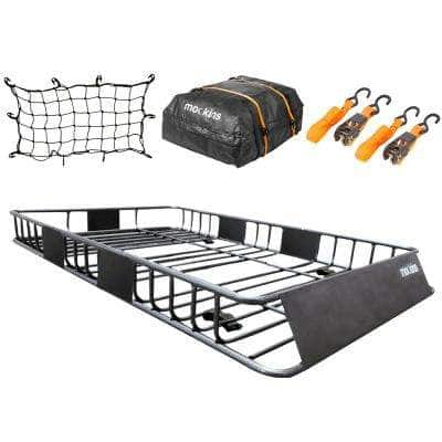 200 lbs. Capacity Roof Rack Rooftop Cargo Carrier with Cargo Bag, Bungee Net, and Ratchet Straps