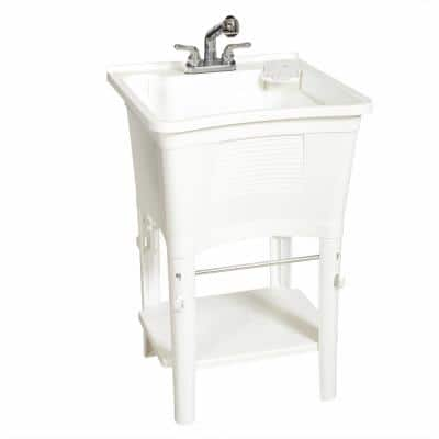 Ergo Tub Freestanding 24 in. x 24 in. Complete Laundry Work Center in White, with Non-Metallic Pull-Out Faucet in Chrome