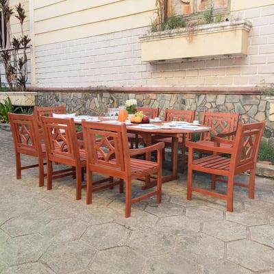 Malibu 9-Piece Wood Outdoor Dining Set