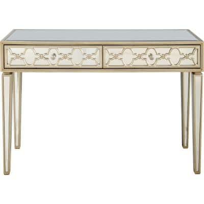 Arielle 48 in. Champagne Rectangle Mirrored Glass Console Table with Drawers
