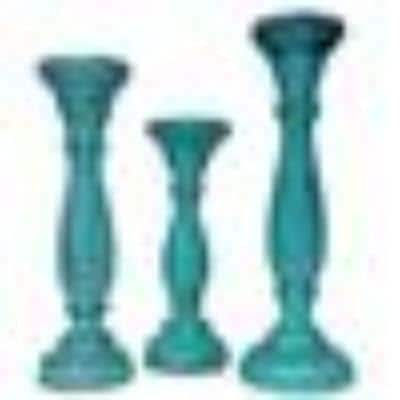 Turquoise Blue Handmade Wooden Candle Holder with Pillar Base Support (Set of 3)