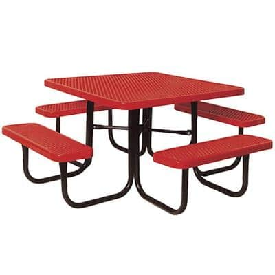Portable Red Diamond Commercial Park Square Picnic Table