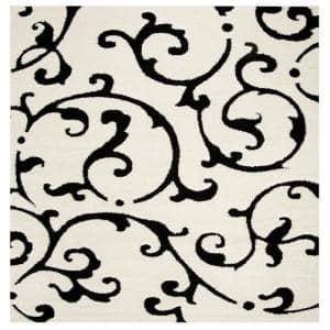 Florida Shag Ivory/Black 6 ft. 7 in. x 6 ft. 7 in. Square Area Rug