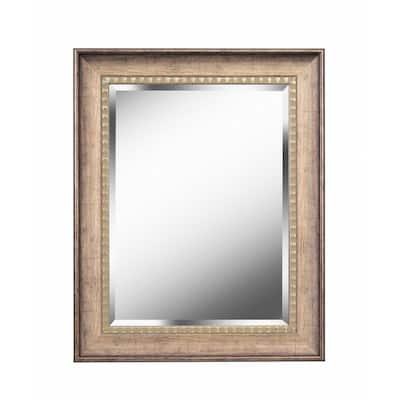 Medium Square Antiqued Gold Antiqued Casual Mirror (30 in. H x 24 in. W)