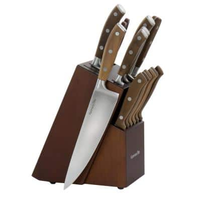 Cooke 14- Piece Stainless Steel Knife Set in Dark Brown with Wood Block