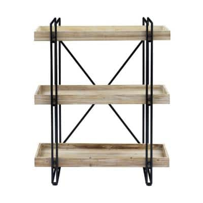 Beachside Washed 38.78 in. Natural 3-Shelf Bookcase