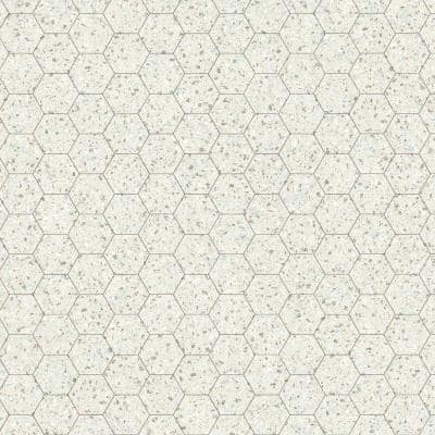 Honeycomb Gray Terrazzo Residential Vinyl Sheet, Sold by 12 ft. Wide x Custom Length