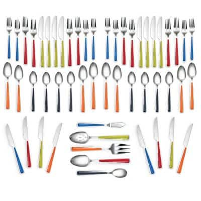 53-Piece Merengue Multicolor Flatware Set with Steak Knives, Service for 8