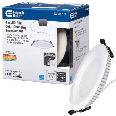 Ultra Slim 4 in. Selectable CCT Canless Color Integrated LED Recessed Light Trim Downlight 650 Lumens Dimmable