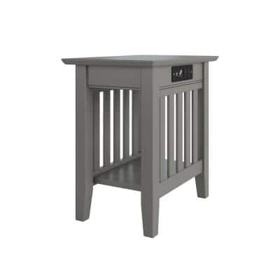 Mission Grey Chair Side Table with Charging Station