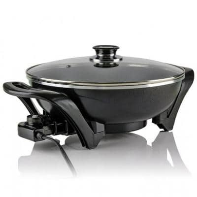 13 In. Black Non-Stick Electric Skillet with Aluminum Body Adjustable Temperature Controller Tempered Glass Cover