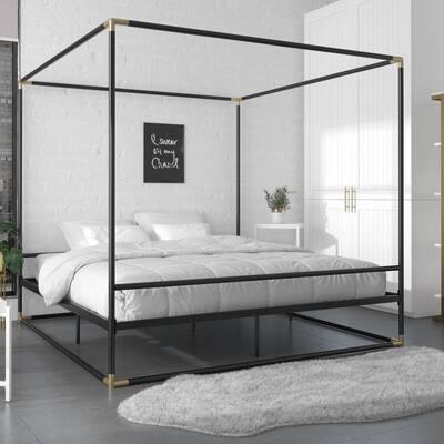 Celeste Black/Gold Canopy Metal King Size Bed Frame