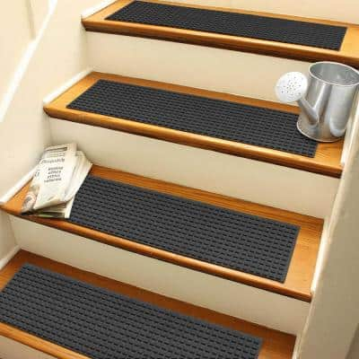 Aqua Shield Squares 8.5 in. x 30 in. Stair Treads (Set of 4) Charcoal