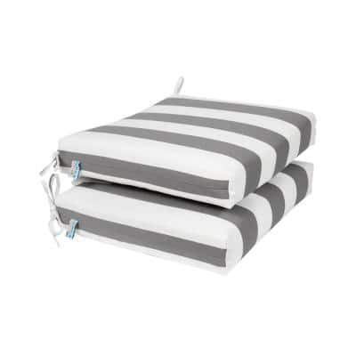 All-Weather 18.5 x 16 2-Piece Outdoor Seat Cushion Slate Grey and White Striped