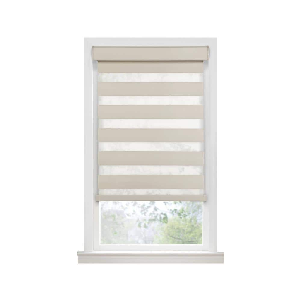 Achim Celestial Tan Cordless Room Darkening Double Layered Polyester Roller Shade 27 In W X 72 In L Ccrd27tn02 The Home Depot