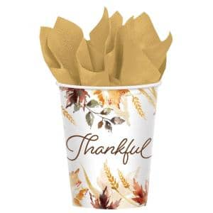 Classic 3 in. x 3.5 in. 9 oz. Multicolored Thanksgiving Paper Cups (2-Pack)