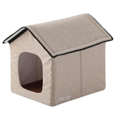 Beige Hush Puppy Electronic Heating and Cooling Smart Collapsible Pet House - Small