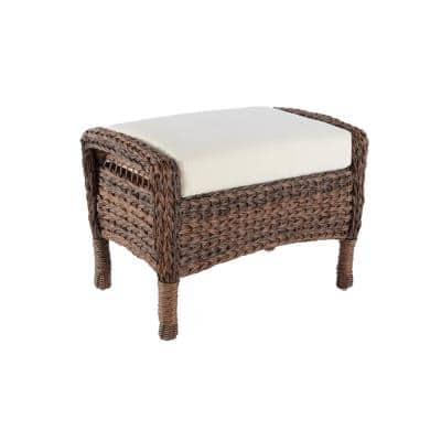 Modern Concept Faux Sea Grass Resin Rattan Wicker Outdoor Ottoman with Beige Cushion