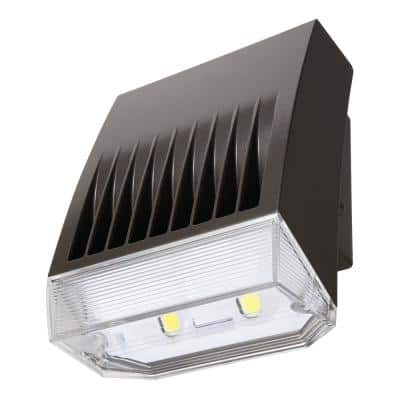 Crosstour Carbon Bronze Outdoor Integrated LED Wall Pack and Area Security Light at 6225 Lumens with Refractive Lens