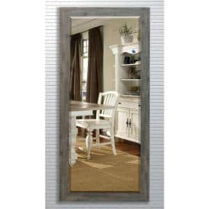 Oversized Gray Wood Cottage Farmhouse Rustic Mirror (71 in. H X 30.5 in. W)
