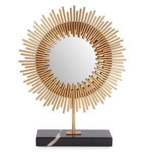 18 in. x 14 in. Modern Round Freestanding Ra Sunburst Table Mirror