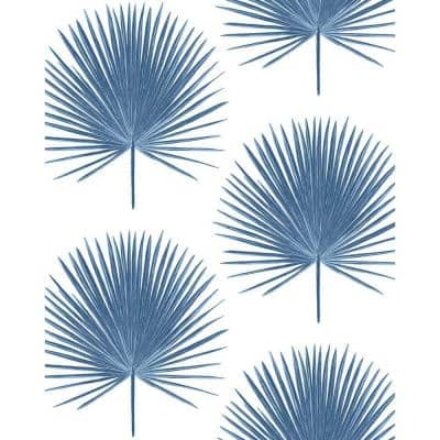 Palmetto Palm Coastal Blue Botanical Vinyl Peel & Stick Wallpaper Roll (Covers 30.75 Sq. Ft.)