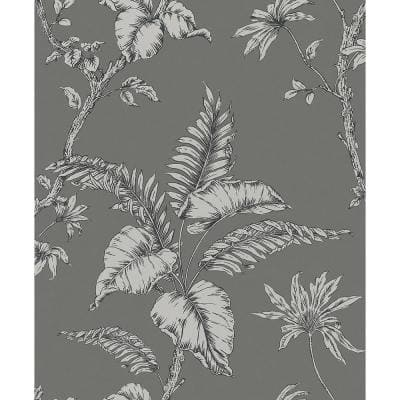 Cival Grey Fern Trail Strippable Wallpaper Covers 57.5 sq. ft.