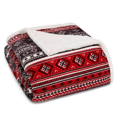 Classic Fair Isle Ultra Soft Sherpa Microfiber Red 1-Piece King Blanket