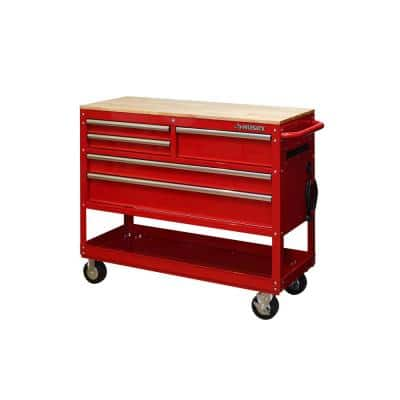 46 in. W 5-Drawer, Deep Tool Chest Utility Cart in Gloss Red