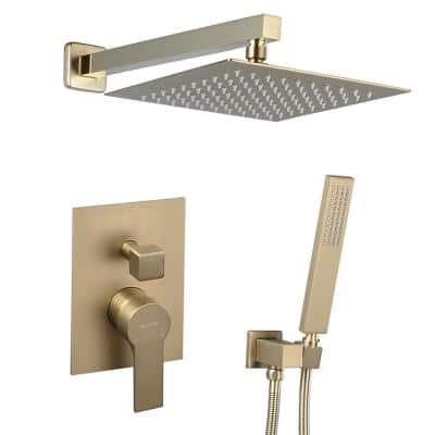 Single-Handle 2-Spray Square High Pressure Shower Faucet in Brushed Gold (Valve Included)